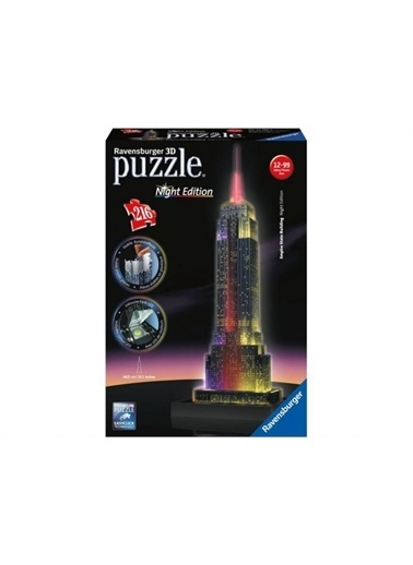 Ravensburger 3D Puzzle Empire State-Night 125661 Renkli
